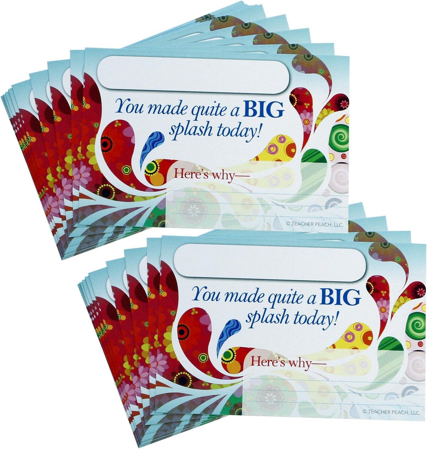 Positive Postcards from Teachers to Students, 50 Cards, Motivational Notes from Teachers, Classroom Teaching Supplies for Preschool, Kindergarten, and Elementary School Teachers (Big Splash)…