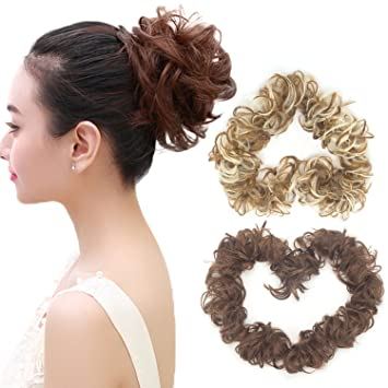 Amazon Com Adjustable Long Curly Hair Extensions For Messy Bun