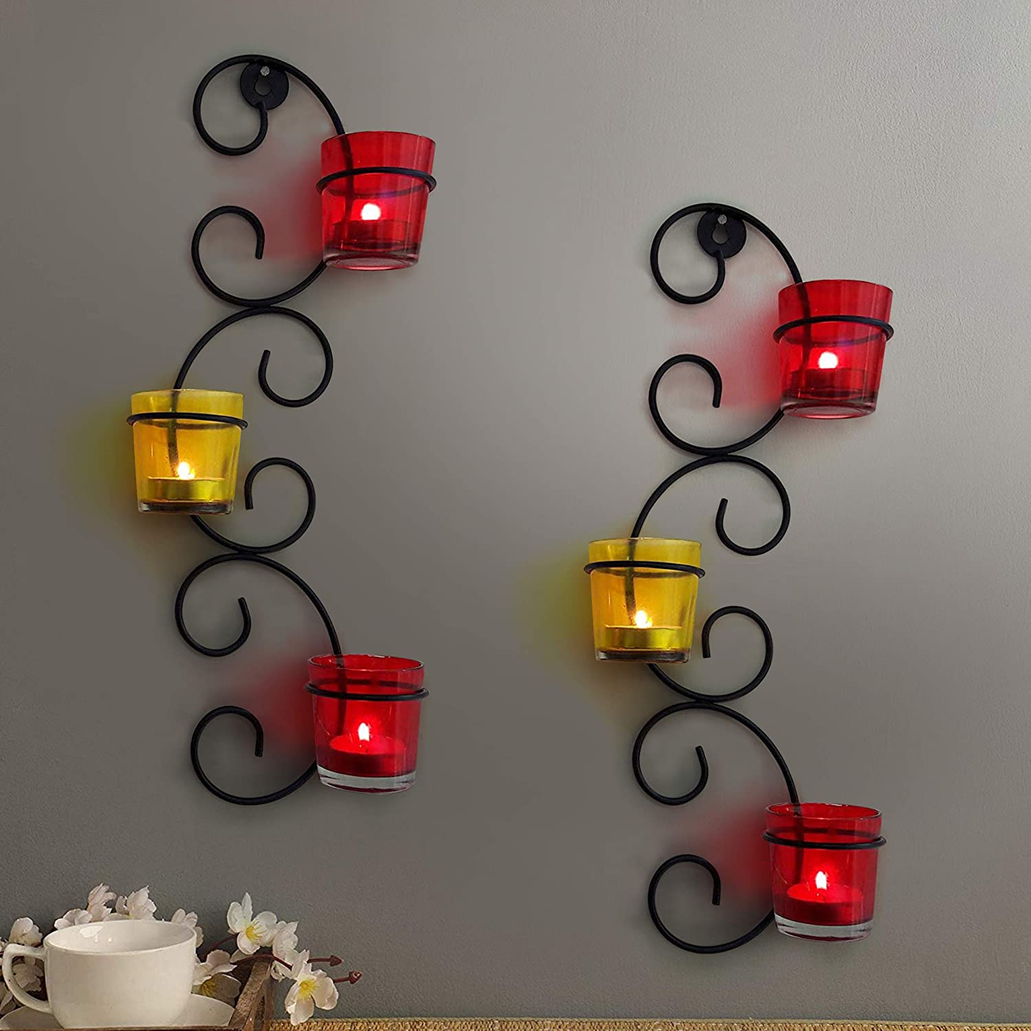TIED RIBBONS Decorative Wall Hanging Tealight Candle Holder Metal Wall Sconce with Glass Cups and Tealight Candles for Christmas Home Decoration (Set of 2)