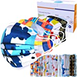 Sheal 100PCS Disposable 3-Layer Face Masks For Adult, Colorful Geometric Pattern Breathable Face Masks, Individually Packaged