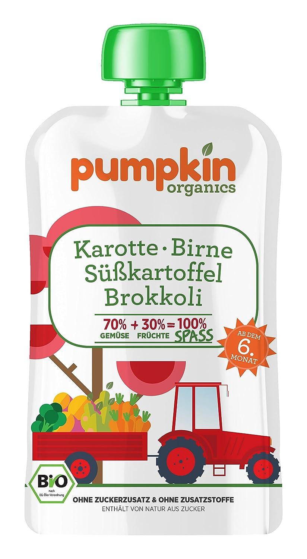 Pumpkin Organics 100g Bio Baby-Brei im Quetschbeutel aus Karotte - Süßkartoffel - Brokkoli mit Birne Babynahrung Gem