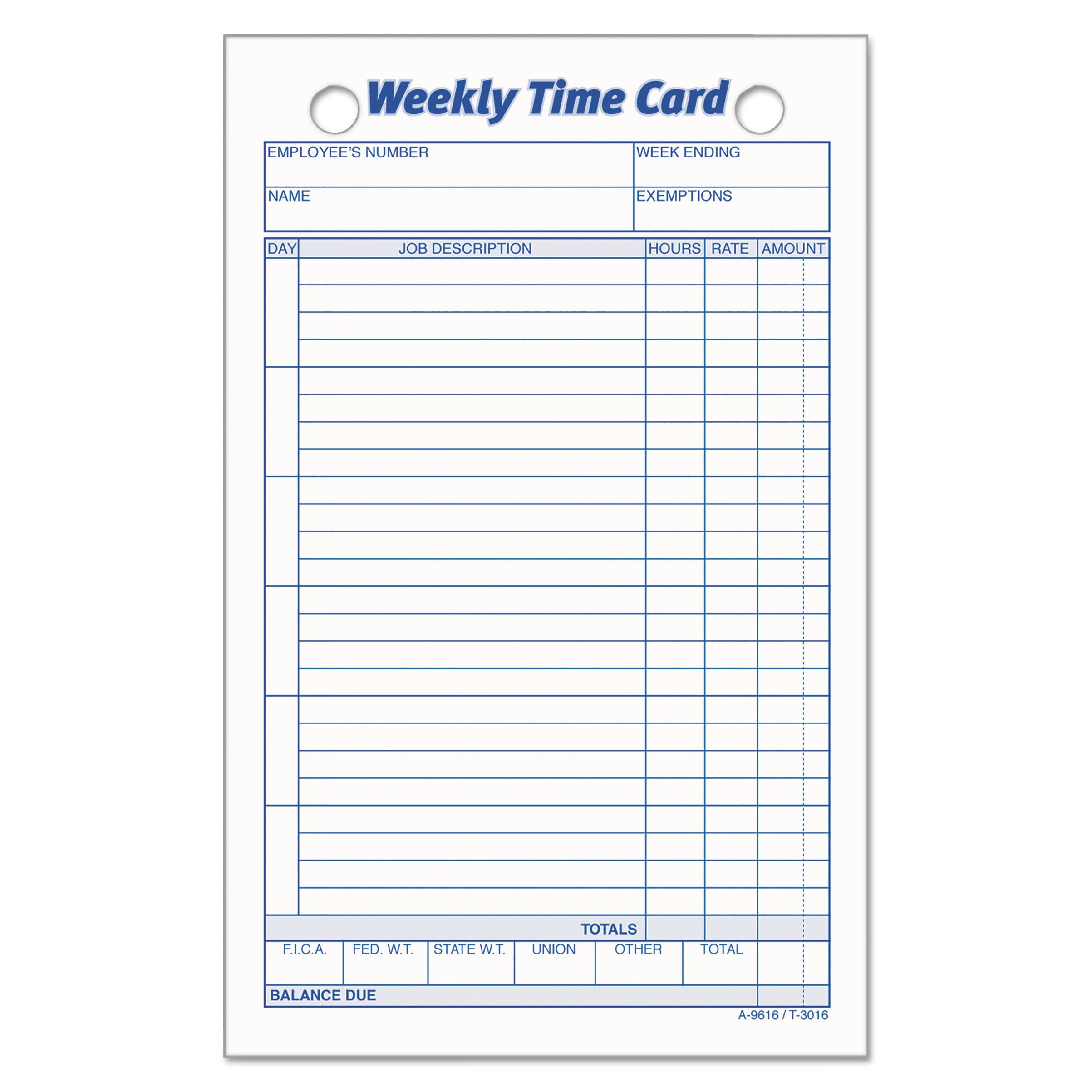 TOPS 3016 Employee Time Card, Weekly, 4 1/4 x 6 3/4 (Pack of 100)
