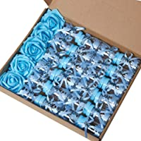 MACTING 2 Dozens 3.5 Inch Feeding Bottle Candy Box with 5 Pcs Artificial Flower Rose for Baby Shower Favor Gift…