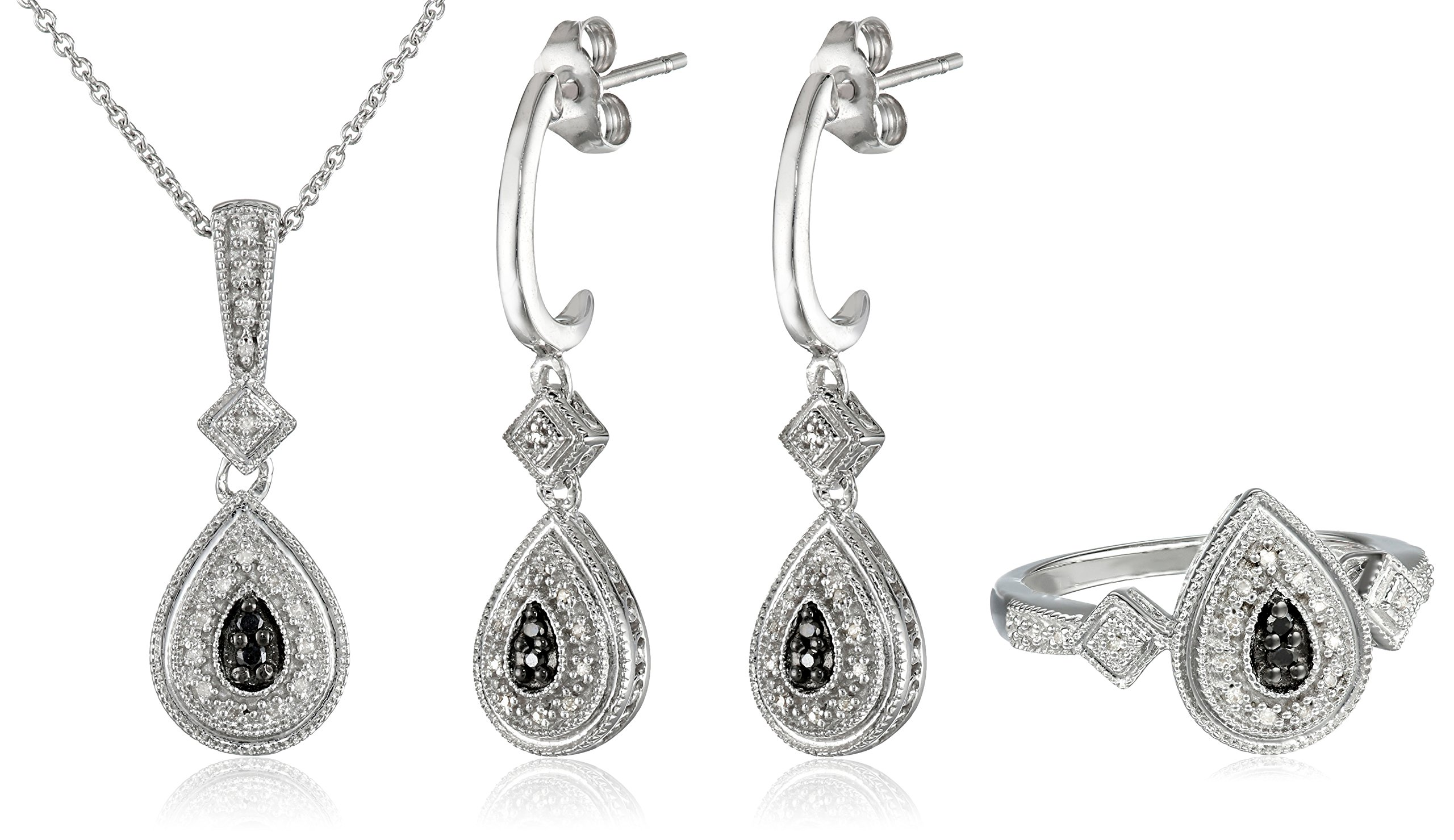 Sterling Silver Black and White Diamond Earrings, Pendant Necklace and Ring Box Set (1/4 cttw)