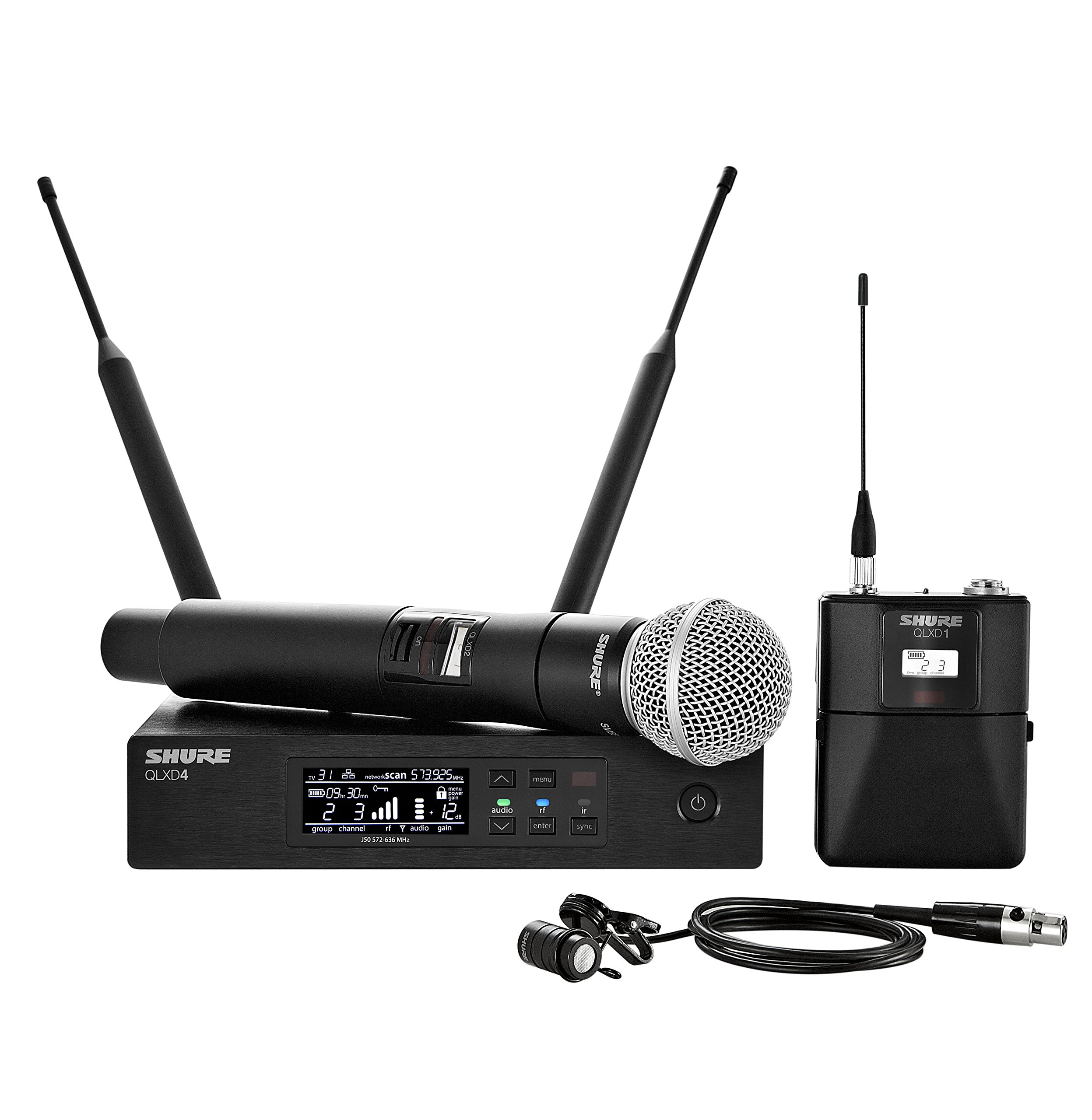 Shure QLXD124/85 Handheld and Lavalier Combo Wireless Microphone System with WL185 and SM58, G50 by Shure