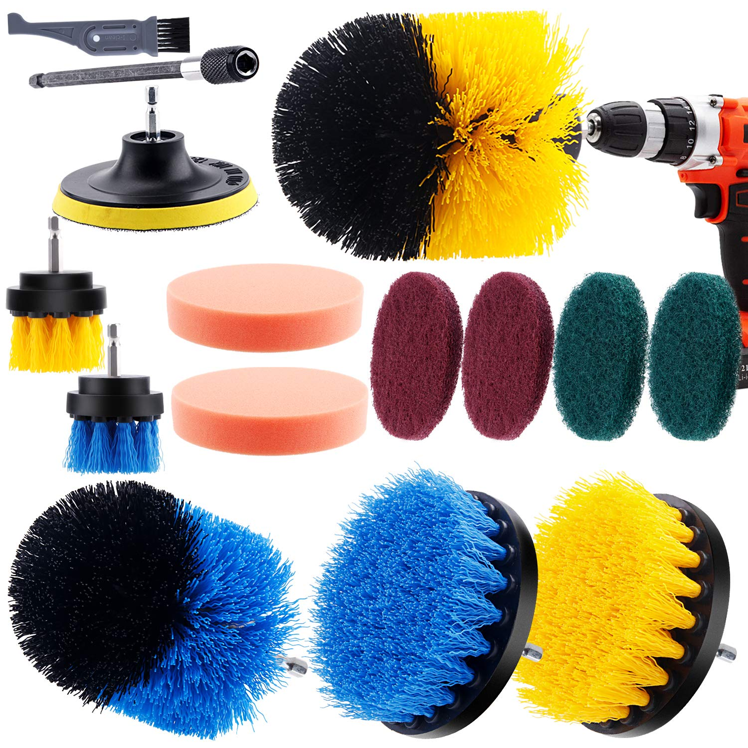 I clean 14 Pieces Drill Brush attachments, Power Scrubber Brush Cleaning Kit for Bathroom Surface, Grout, Tub, Shower, Kitchen, Auto,Tile, Corners