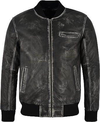 Smart Range Leather Cazadora de Aviador de Cuero Real para Hombre ...