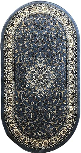 Traditional Oval Oriental 330,000 Point Area Rug Blue Black Burgundy Green Persian Design 603 31 Inch X 4 Feet 11 Inch