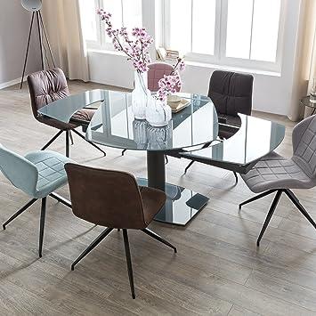 Schon FineBuy Esszimmertisch NOAH 120 180 Cm Ausziehbar Dunkelgrau Metall/Glas |  Tisch Für Esszimmer