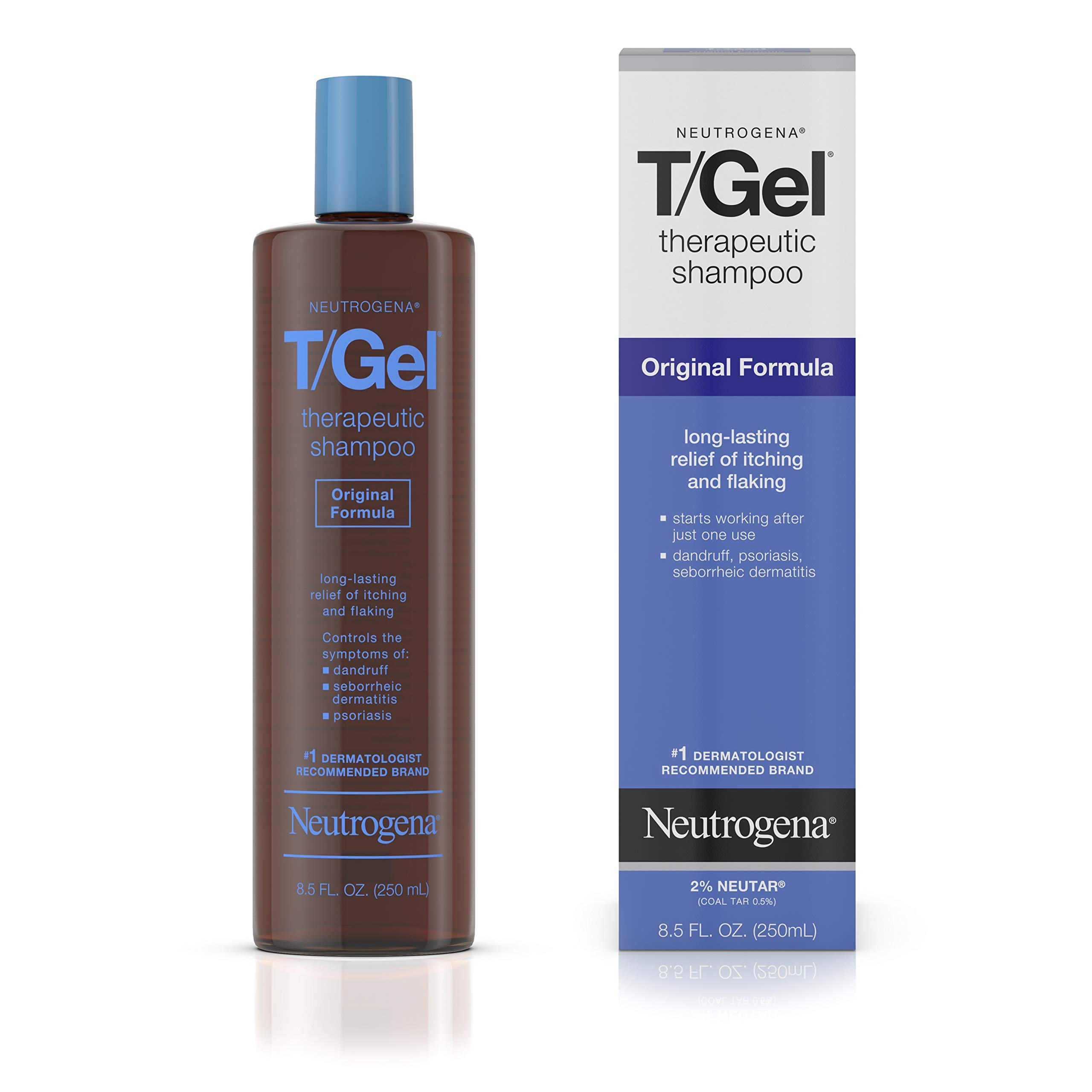 Neutrogena T/Gel Therapeutic Shampoo Original Formula, Anti-Dandruff Treatment for Long-Lasting Relief of Itching and Flaking Scalp as a Result of Psoriasis & Seborrheic Dermatitis, 8.5 fl oz (2 Pack) by Neutrogena