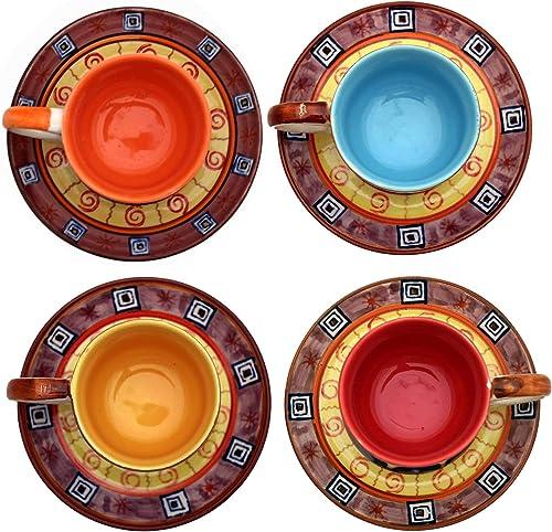 Gall&Zick Set/4 Espressotassen mit Untertasse, Mokkatasse, Kaffeetasse, Geschirr Set, Keramik, Bemalt Bunt, Handgefertigt/Handbemalt