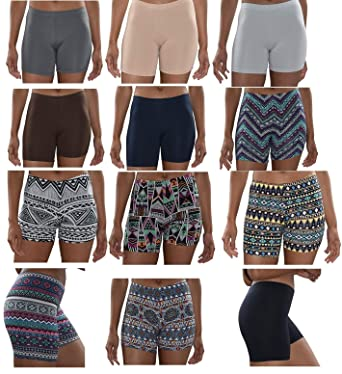 bbed2c9e6 Sexy Basics Womens 12 Pack Buttery Soft Brushed Active Yoga Stretch Mini  -Bike Short Boxer