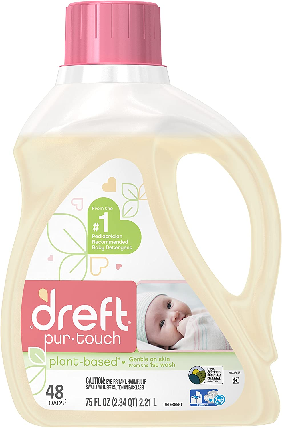 Dreft Purtouch Liquid Baby Laundry Detergent, Hypoallergenic for Baby, Infant, or Newborn, 75 Ounces (48 Loads)