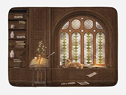 Amazon Com Gothic Bath Mat Room For Study In The Medieval Library