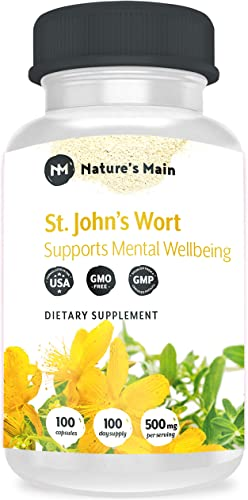 St Johns Wort Capsules Natural Depression Supplements, Anxiety Relief, Mood Support Stress Relief Max Strength 1000 mg 100 St Johns Wort Happy Pills, Nootropics and Smart Drugs