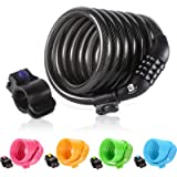 Etronic Bike Lock M6, Cable Lock 6 Feet Long Coiled Security Resettable Combo Combination Lock Bicycle Lock with…