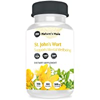St Johns Wort Capsules Natural Depression Supplements, Anxiety Relief, Mood Support & Stress Relief ǀ Max Strength 1000 mg ǀ 100 St Johns Wort Happy Pills, Nootropics and Smart Drugs