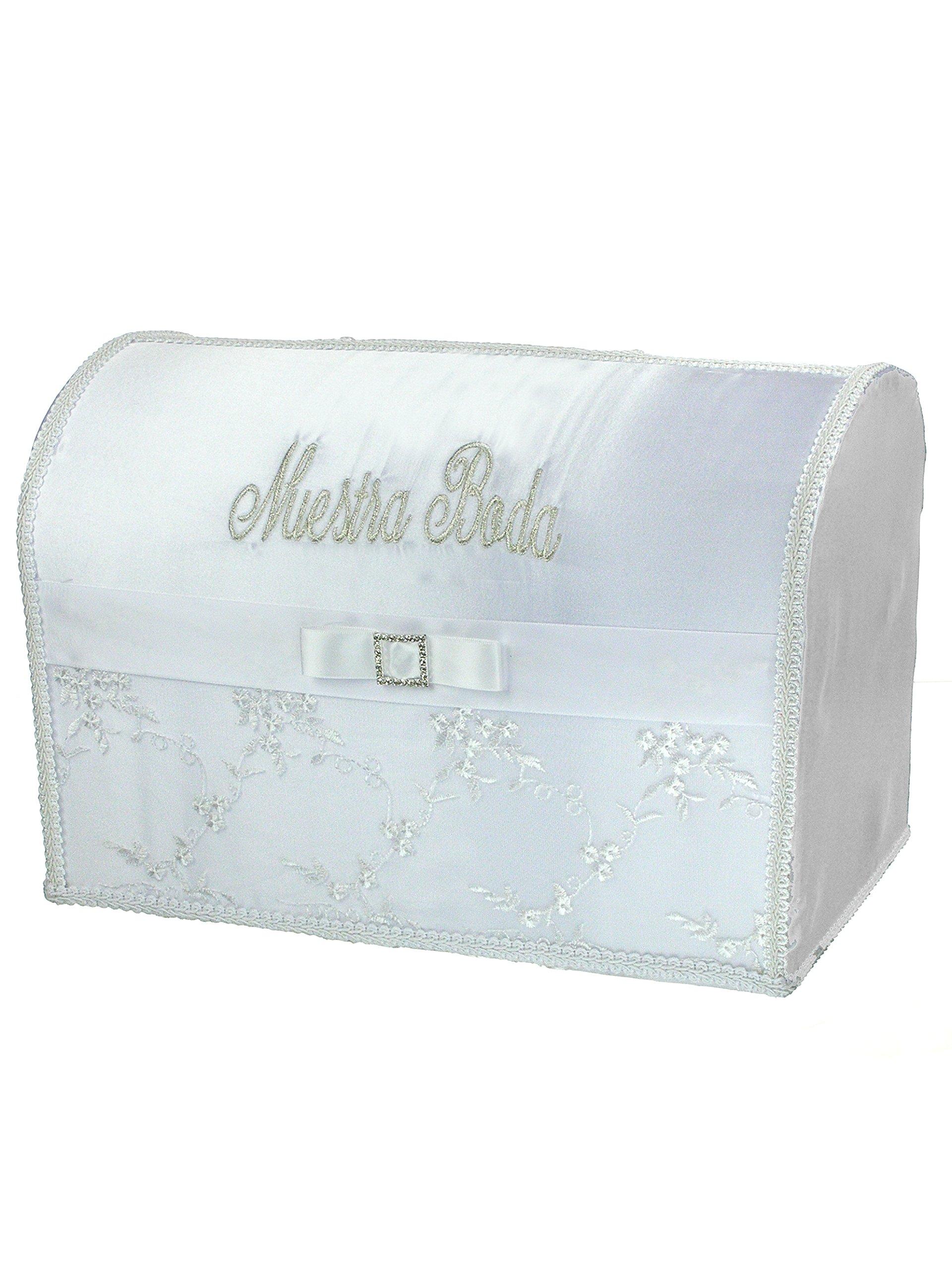 Spanish Style Spanish Embroidered Wedding Gift Card/Money Box 15 x 10 x 9 Inches White