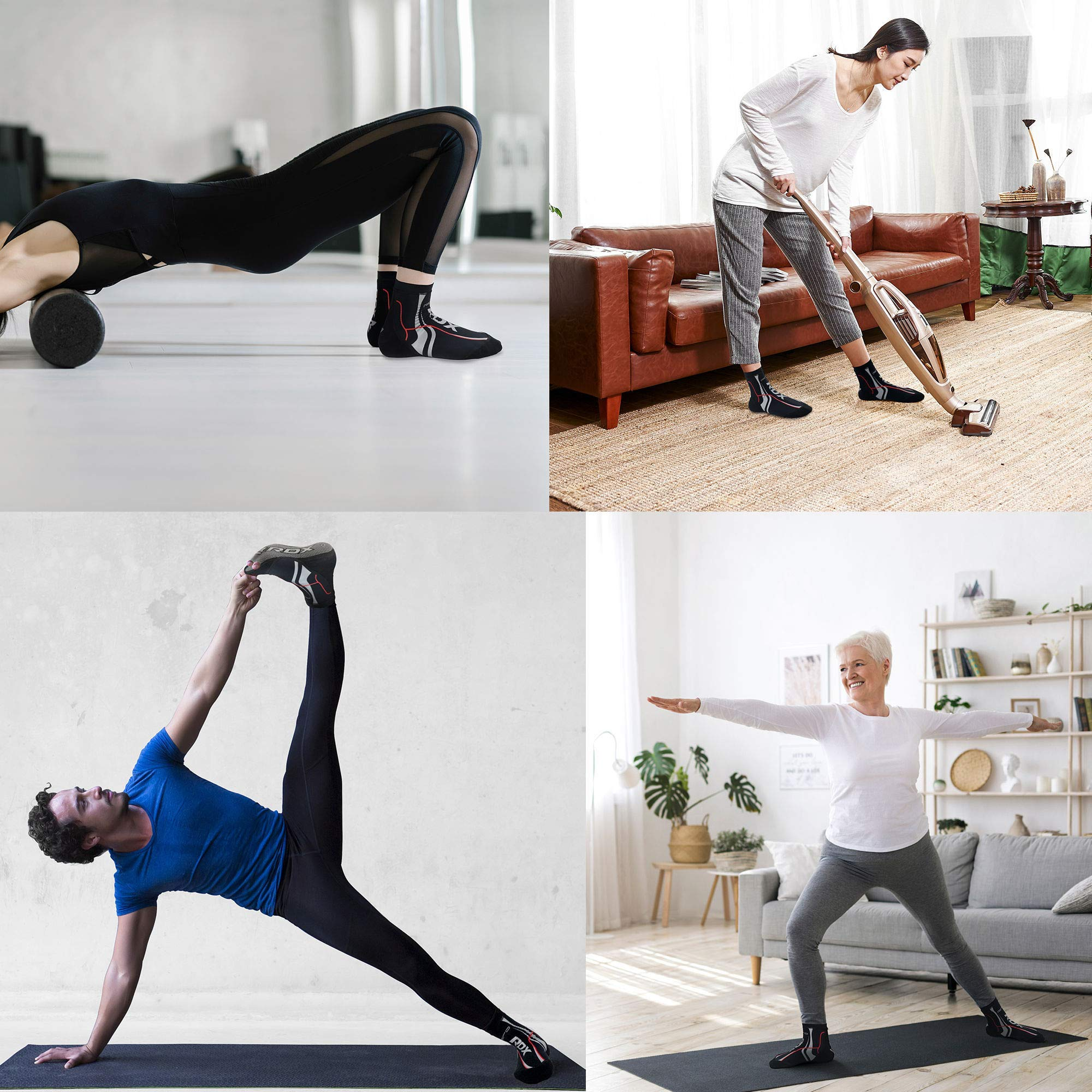 RDX MMA Calcetines con agarre para boxeo, yoga, soporte antideslizante para el tobillo, entrenamiento con barra antideslizante para Pilates, calcetines de neopreno elásticos con zapatilla para agarre, jiu jitsu, lucha y artes marciales