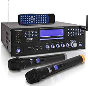 4-Channel Karaoke Home Wireless Microphone Amplifier - Audio Stereo Receiver System, Built-in CD DVD Player, Dual UHF Wireless Mic/MP3/USB Reader, AM/FM Radio - Pyle PWMA5000BA