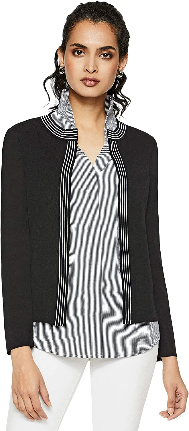 Misook Womens Knit Jacket Business Work Or Casual Blazer Black L At Amazon Women S Clothing Store