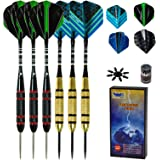Professional Steel Tip Darts Set 6 Pack 22 Grams with Black Aluminum Shafts, Rubber O'Rings, and Extra Flights + Dart Sharpen
