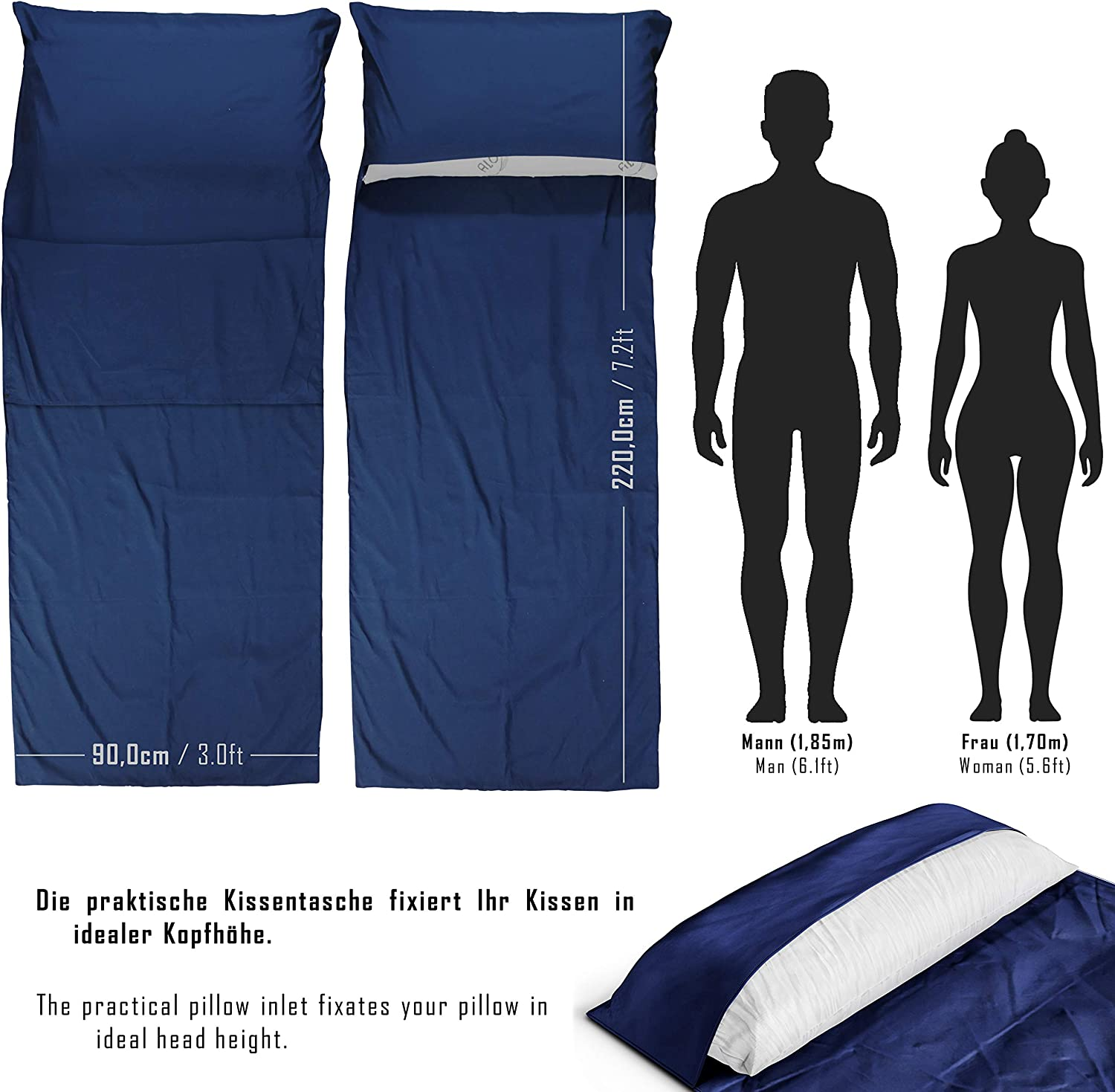 BeMaxx Sleeping Bag Liner + Pillow Inlet Outdoor – Compact, Lightweight Inlay   Summer Microfibre Bedroll   Space–saving and Perfect for Travelling,
