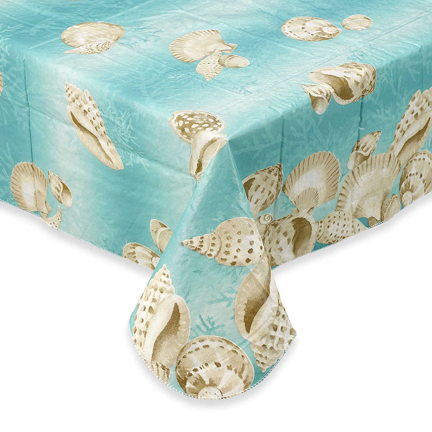 Amazon.com: Seashell Border Flannel Backed Vinyl Tablecloth Indoor Outdoor  52 Inch By 70 Inch Oblong (Rectangle): Home U0026 Kitchen