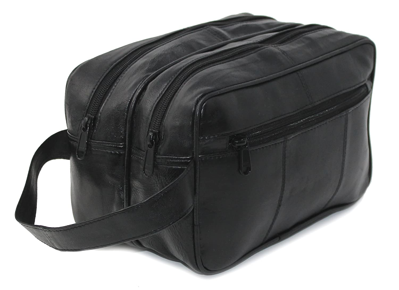 RAS Men's Black Large Genuine Leather Travel Overnight Wash Gym Bag | Toiletry Bag | Shaving Bag - 3520