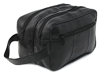 Image Unavailable. Image not available for. Colour  RAS Men s Black Large  Genuine Leather Travel Overnight Wash Gym Bag   Toiletry Bag   Shaving fb96b47ecd
