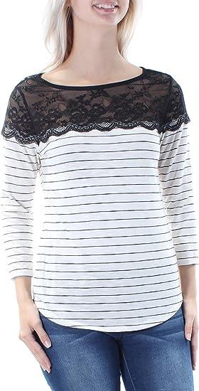 Maison Jules Womens Lace-Trim Contrast Top