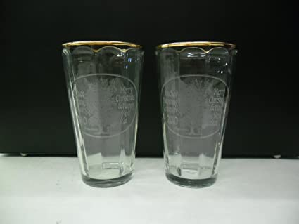 Set Of 2 Anchor Brewing 2010 Merry Christmas Happy New Year Holiday Gold Rimmed Beer