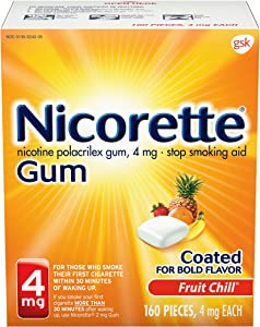 Nicorette 4 mg Nicotine Gum to Quit Smoking - Fruit Chill Flavored Stop Smoking Aid, 160 Count