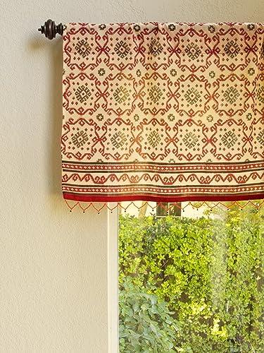Saffron Marigold Ruby Kilim CP Rustic Red Sheer Beaded Window Valance 46×17