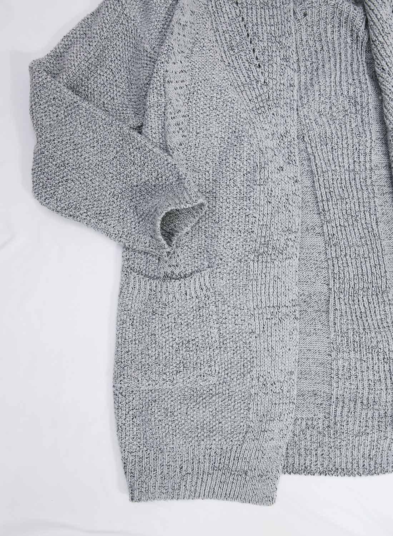 Futurino Women's Cable Twist School Wear Boyfriend Pocket Open Front Cardigan (One Size, Grey) by Futurino (Image #5)