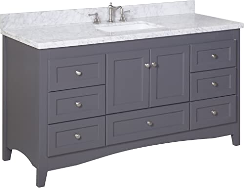 Abbey 60-inch Single Bathroom Vanity Carrara Charcoal Gray Includes Gray Shaker Style Cabinet