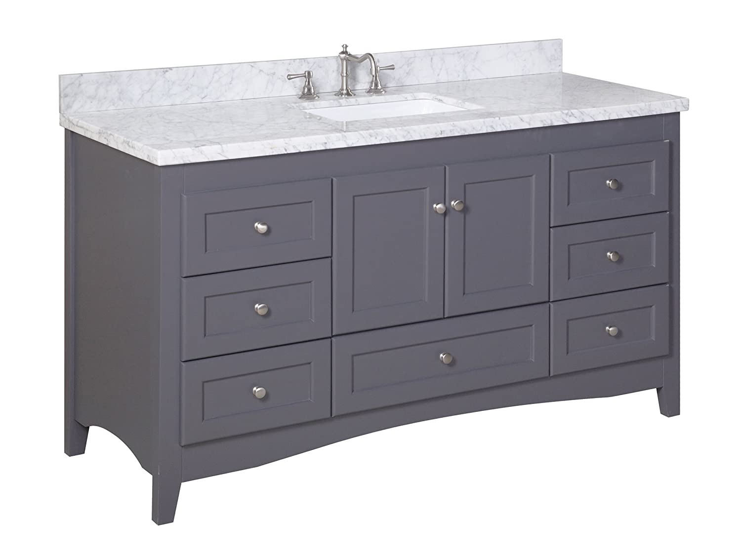 Abbey 60-inch Single Bathroom Vanity Carrara Charcoal Gray Includes Gray Shaker Style Cabinet with Soft Close Drawers Doors, Italian Carrara Marble Top and Rectangular Ceramic Sink