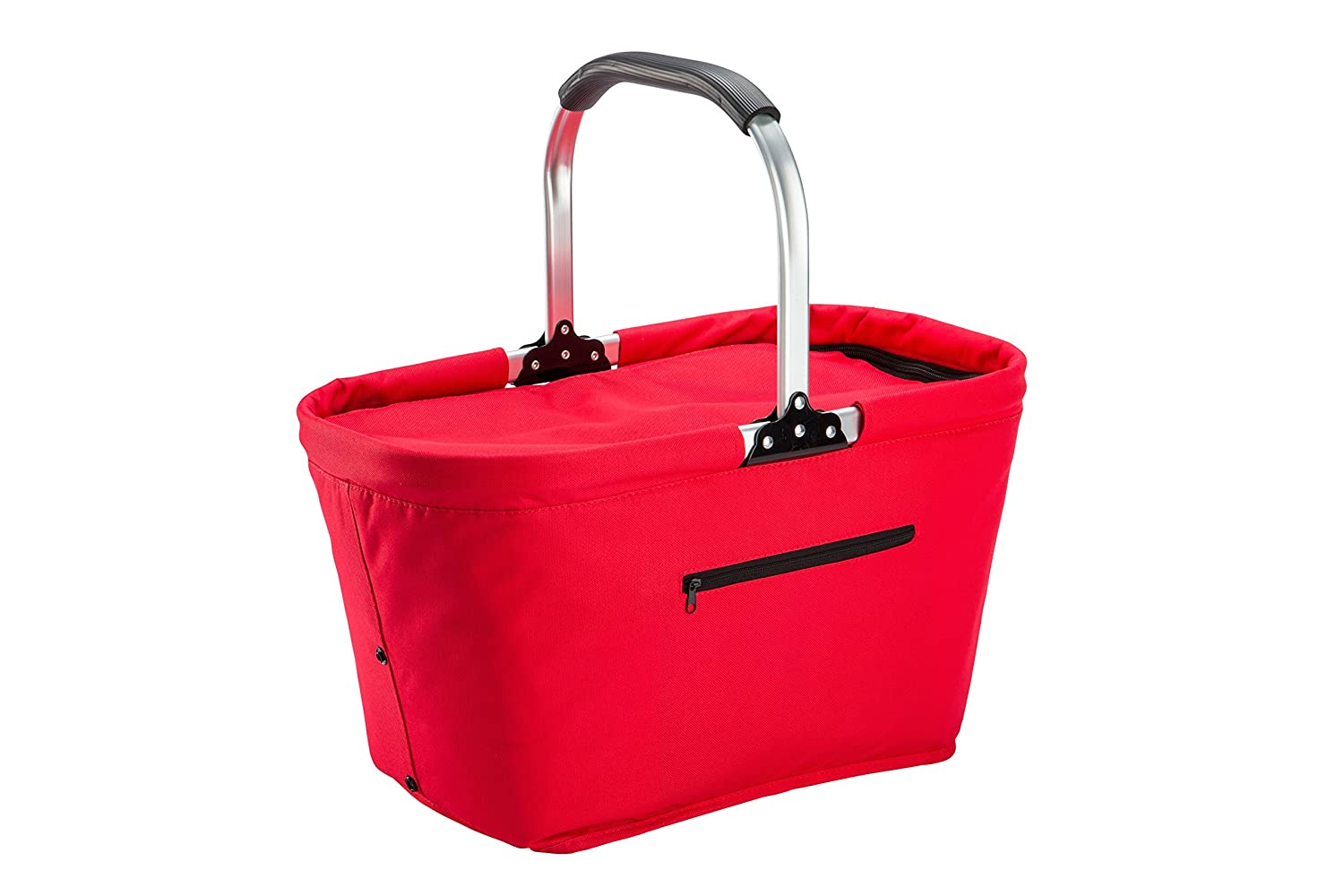 Lightweight Collapsible Foldable Insulated Thermal Picnic Bag Basket Cooler w Aluminum Handle, Large Family Size Red