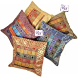 Little India Hand Embroidery Brocade Work Silk 5 Piece Cushion Cover Set - Multicolor (DLI3CUS449)