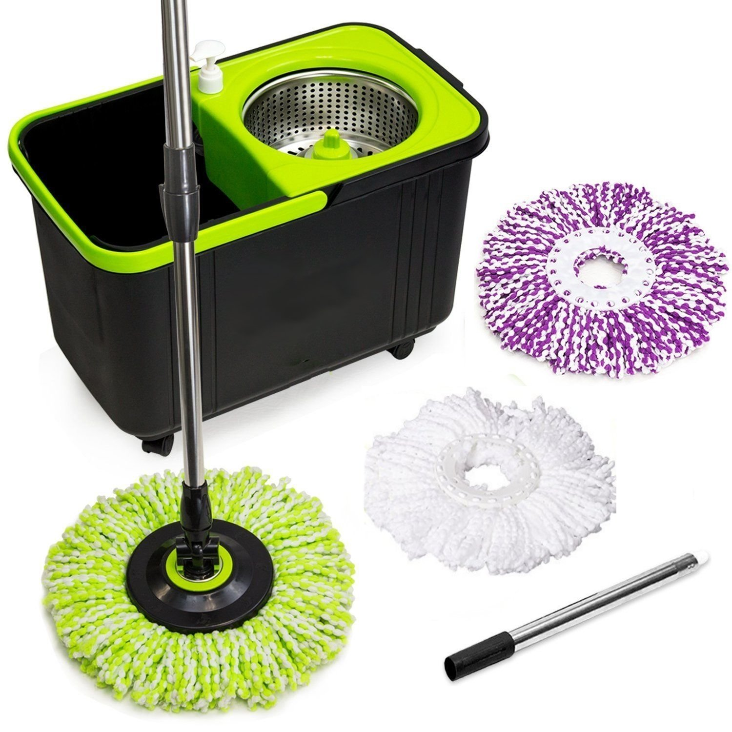 Simpli-Magic 79117 Stainless Steel Spin Mop with 3 Microfiber Mop Head Refills, 4 Wheels, Soap Dispenser and Extendable Pole