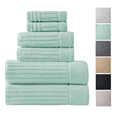 Luxury Bath Towel Collection Set - Ultra Absorbent and Plush Complete Towel Set With Unique Ribbed Design - Made with 100% Cotton (Sea Foam)