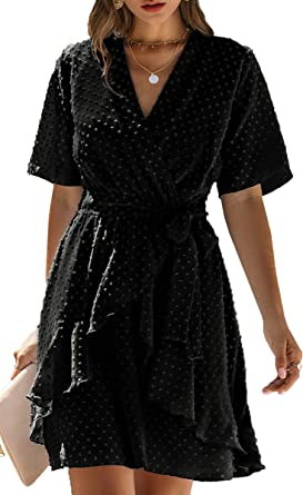 Your New Look Womens Irregular Patterned Wrap Dress Floral V Neck Long Sleeve Mini Dress 2020 Spring Summer Dress for Work Party Weddings