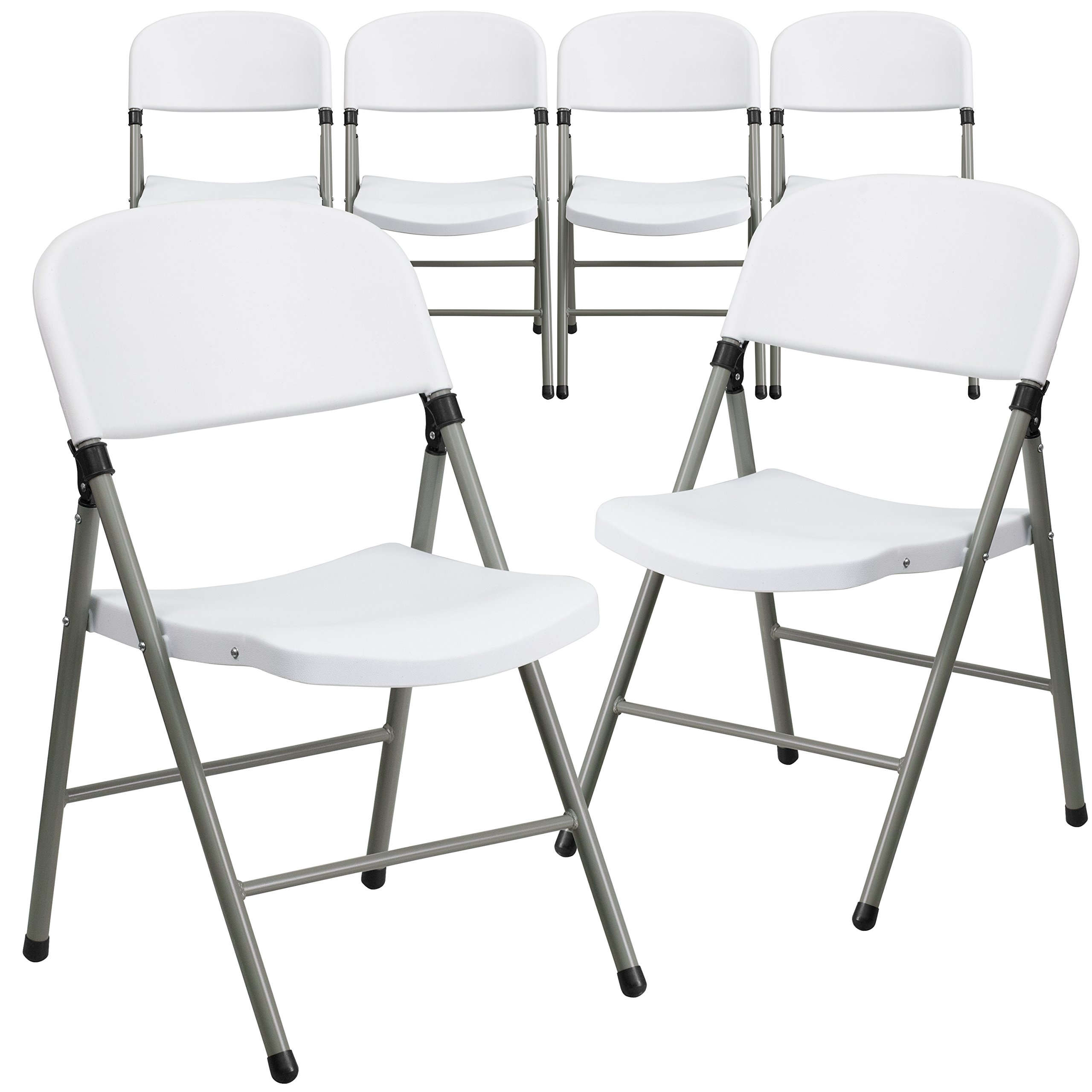 Flash Furniture 6 Pk. HERCULES Series 330 lb. Capacity White Plastic Folding Chair with Gray Frame by Flash Furniture