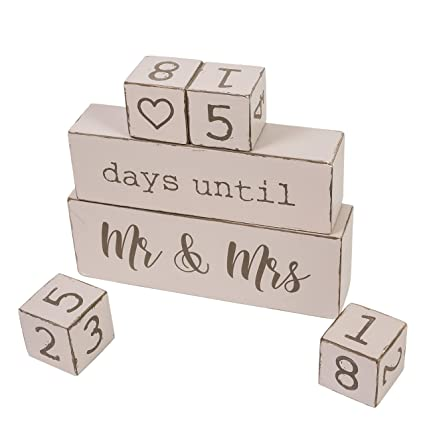 Rainbow Reversible 6 Piece Wooden Block Wedding Day Countdown Calendar Unique Funny Engagement Gift For Bride To Be Or Fiance Or Couples Perfect