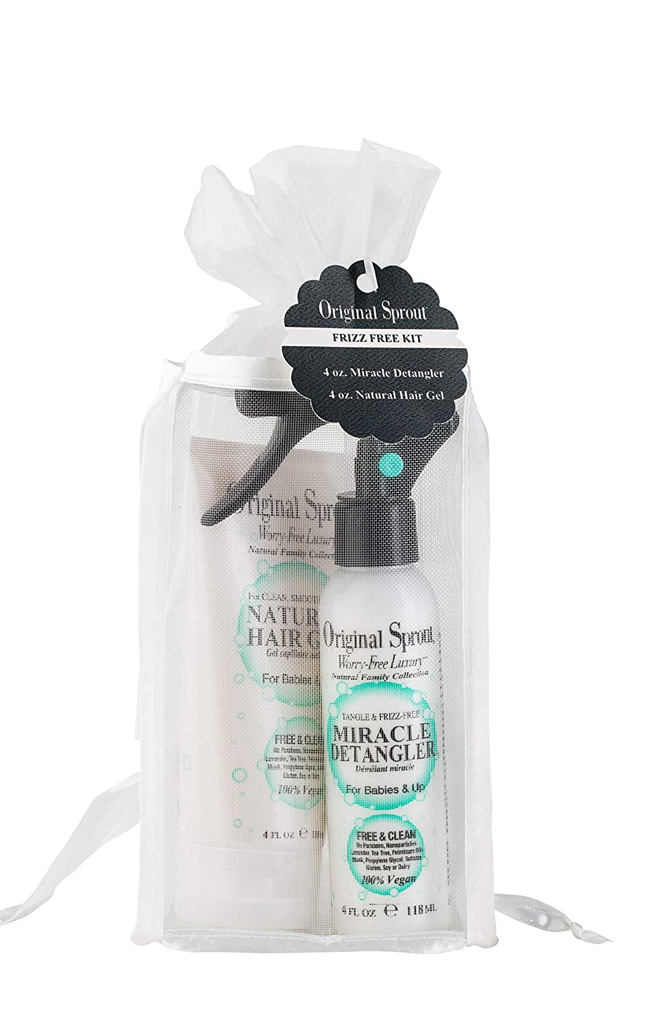 Original Sprout Frizz-Free Kit. Classic Hair Gel, and Miracle Detangler. 4 Ounces Each. Vegan and Dermatologist Tested Smoothing and Styling Gel to Tame Frizz and Fly-Aways.
