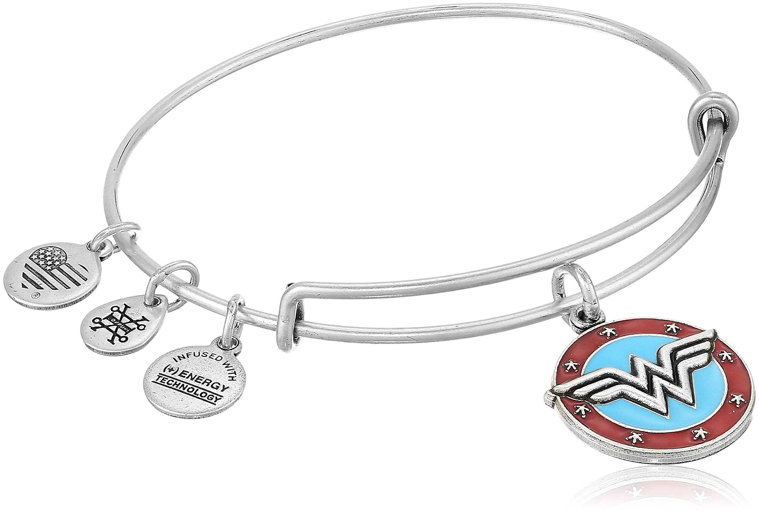 Alex and Ani Wonder Woman Logo Rafaelian Silver Bangle Bracelet