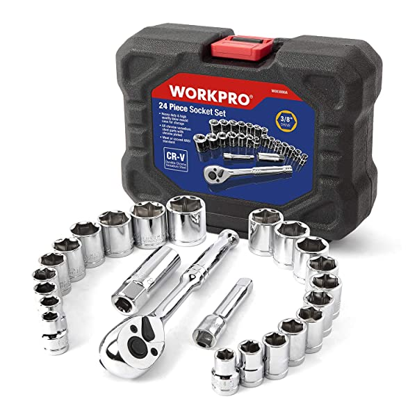 WORKPRO 24-Piece Compact Drive Sockets Set 3/8 Ratchet with Blow Molded Case (Color: Black, Tamaño: 24-Piece)