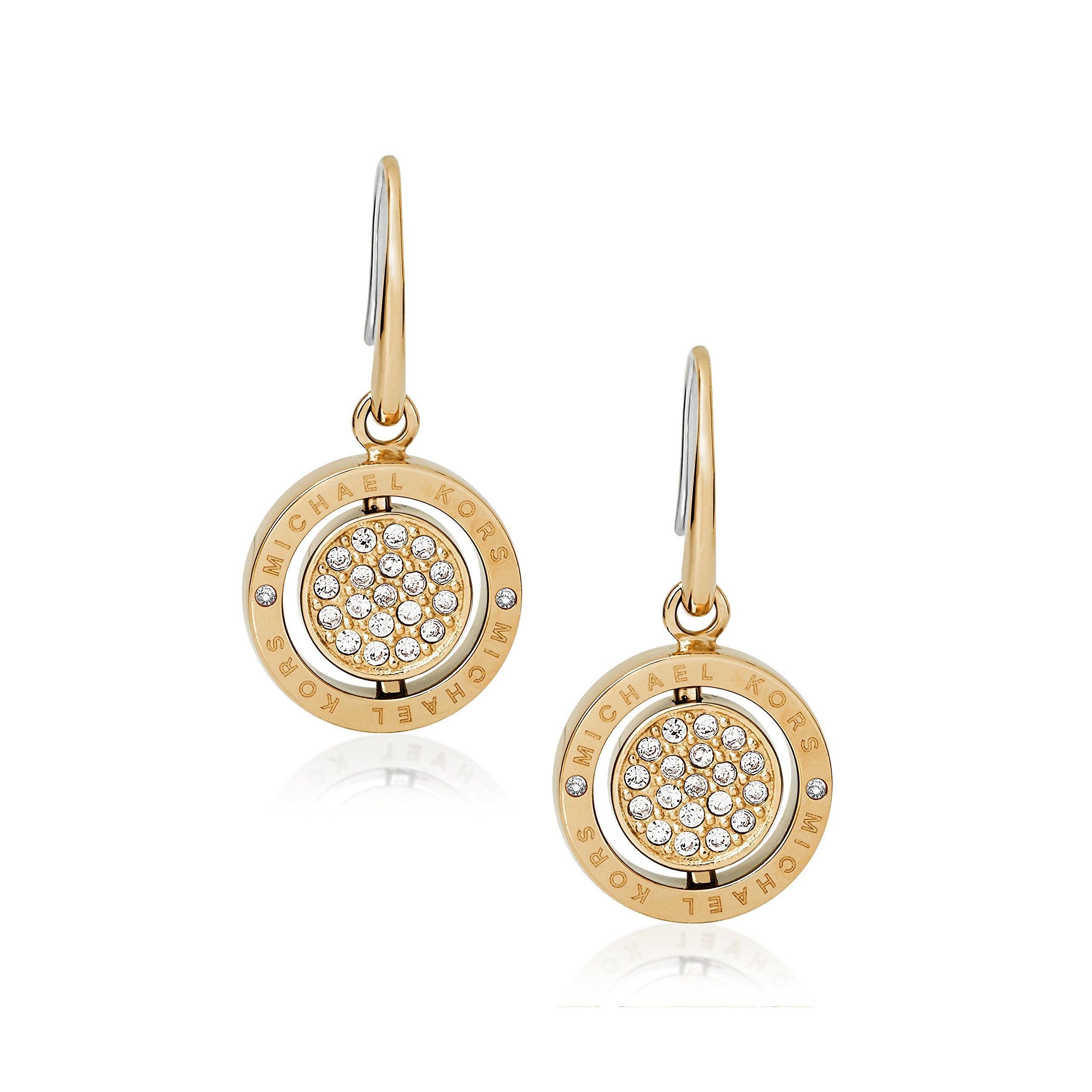 Michael Kors Flip Glitz Gold Tone Drop Earrings