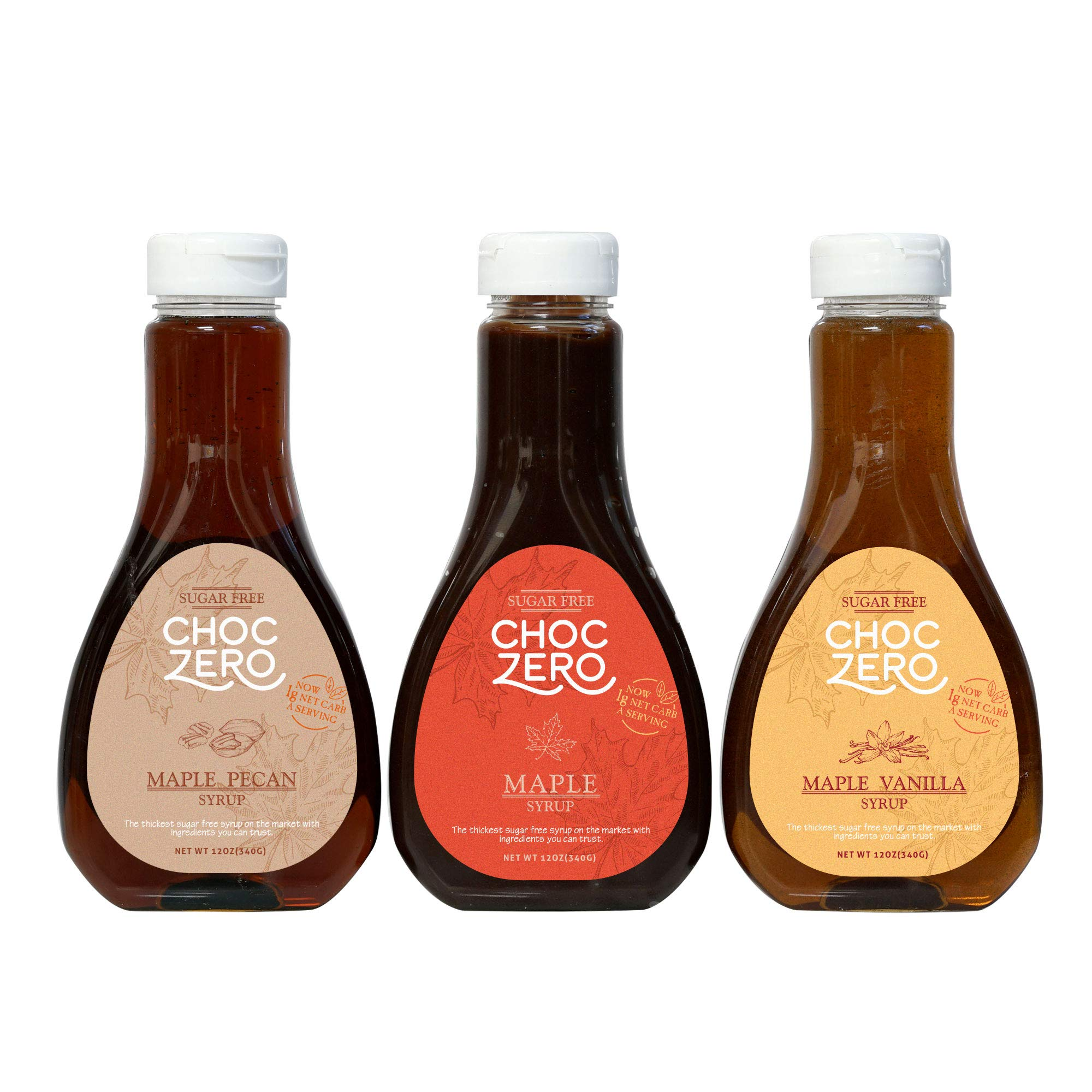 Honest Syrup, Maple Syrup Collection. Sugar free, Low Carb, No preservatives. Thick and Rich. Sugar Alcohol free, Gluten Free. Pancake and Waffle topping. 3 Bottles(3X12oz) by ChocZero