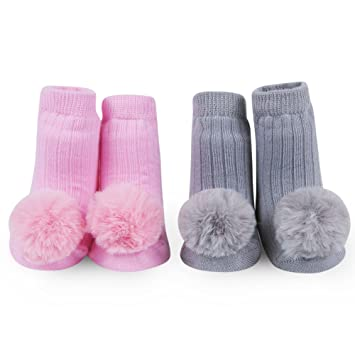 WADDLE Newborn Pink Baby Girls Socks with Rattles 2 Pairs Pom Pom Ball Gift Set Grey